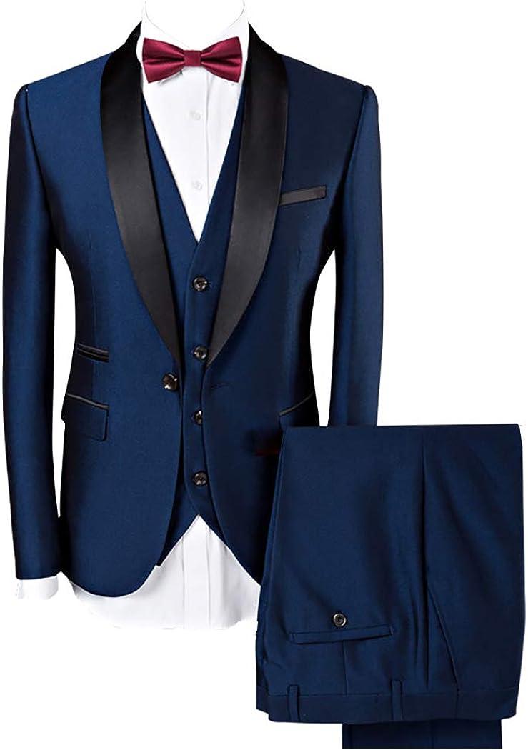 Mens Classic Tailored Black Shawl Lapel Tuxedo Groom Slim Fit Suit for Wedding 2019