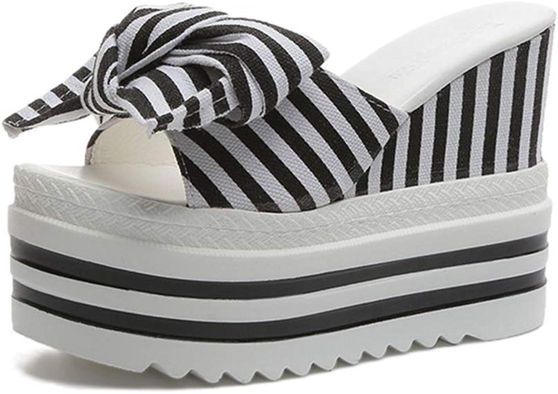 Zarbrina Woman Slippers Sandals Super High Heel Beach Wedges Platform Summer Striped Slides Butterfly-Knot shoes
