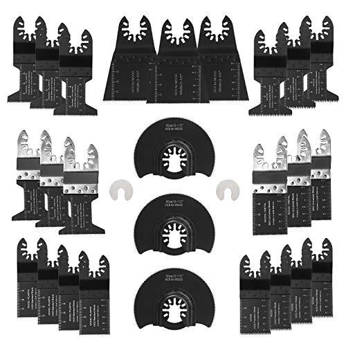 28 x Oscillating Saw Blades, Jerbor Wood and Metal Cutting Quick Release Multi Tool Accessories fit Dewalt, Craftsman, Ridgid, Milwaukee, Rockwell, Ryobi, Bosch