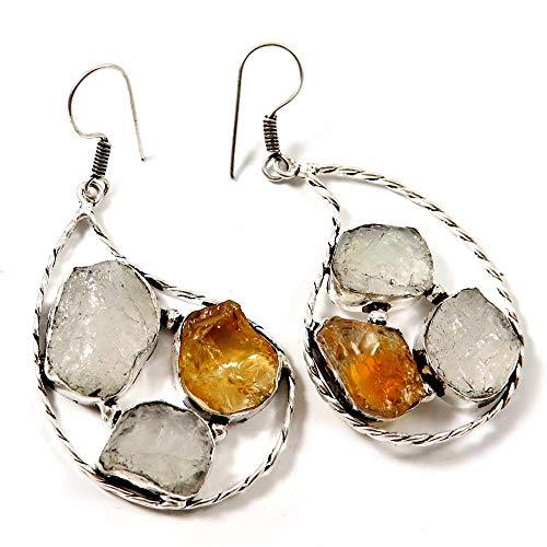 Goyal Crafts GEO06 - Pendientes de piedra lunar con diseño de druzy plateado