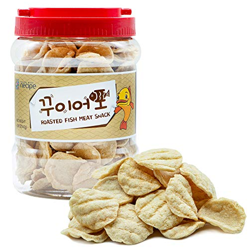 Roasted Fish Jerky [ Korean Snack ] Crunchy + Salty, Best Chip For Perfect Seafood Snack, Party Sized Tub for Sharing [ JRND Foods ]