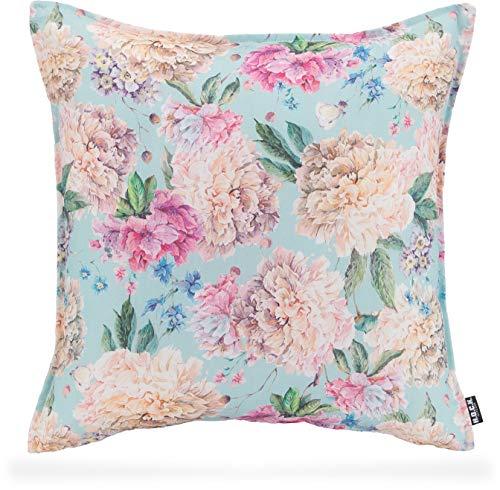 H.O.C.K. Shabby Outdoor Kissen floral lichtecht/wasserabweisend für den Garten (50x50cm, Baby Blue)