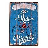 Carteles de chapa 'Quiero montar mi bicicleta', carteles de chapa, carteles artísticos de metal, restaurante, salón, bar, decoración de la pared - intl-20x30cm