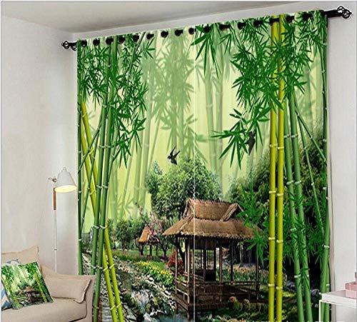 Vorhang Benutzerdefinierte Digital Hd Muster Dschungel Bach Grüner Bambus Vorhang Büro Schlafzimmer 3D Fenster Vorhang Luxus Wohnzimmer Schmücken Cortina Vorhänge Rideaux Kissenbezug-(W)500x(H)245cm