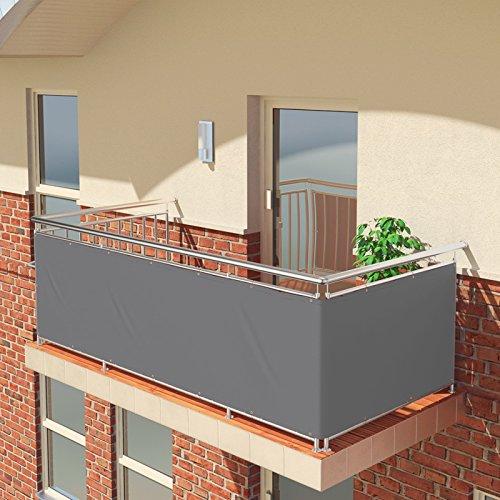 BALCONIO Balkon Sichtschutz wasserabweisend Balkonbespannung Balkonabdeckung für Balkon Terrasse aus Polyester-500 x 85 cm-Grau