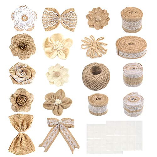 BUYGOO 30Pcs Burlap Flowers Set Natural Rustic Burlap Flowers Craft Burlap Lace Bowknot Lace Burlap Ribbon Rolls and Twine Ribbon for Wedding Party Decor Home Embellishment DIY Crafts