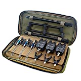 Hirisi Tackle Kit de pêche à la carpe, détecteurs de touche, swingers, pod, sac de transport (Noir)