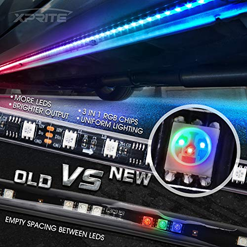 Xprite Car Underglow RGB Dancing Light Kit with Wireless Remote Control 6PC Underbody SMD 5050 LED Glow Neon Strip Lights for Trucks