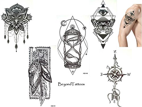 5 Bögen Top Trend Tattoos Linien Tattoo Graphische Tattoo Set X2 Sanduhr Kompass Eule Feder