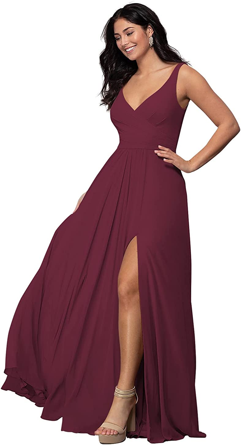 YMSHA Women's Chiffon Bridesmaid Dresses Long 2021 A line Pleated Formal Dresses with Slit YMS156