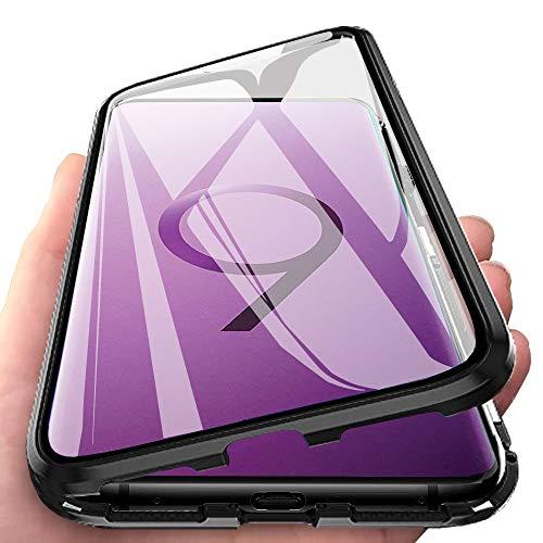 Coque pour Samsung Galaxy S9 Plus Adsorption Magnétique Housse Complète étui Antichoc Aimants Puissants Double Haute sensibilité Verre trempé 360 Diplôme Unibody Protection Métal Flip Cover