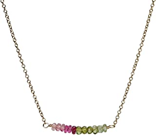 Watermelon Tourmaline Bar Necklace Rose Gold October Birthstone Jewelry - 16 inches