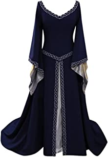 ♡QueenBB♡ Womens Medieval Dress Renaissance Costumes Irish Long Dress Cosplay Retro Gown Fancy Victorian Vintage Dresses