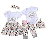 Tabpole Little Big Sister Matching Outfits Short Sleeve Shirt+Floral Pant+Headband Set for Baby Girls White