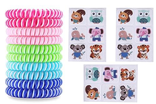 10 Stück Anti Mücken Armband + 3 x 6 Stück Kleidungs Aufkleber Pflaster für Kinder und Erwachsene zur Schmuck Tragen