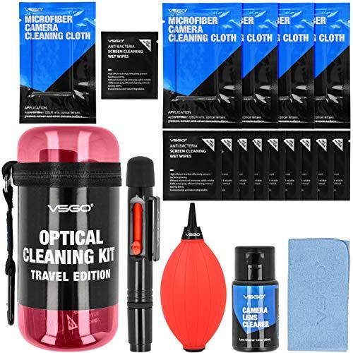 Indovis Kit di pulizia per obiettivi fotocamera microscopio, lenti e sensori, display DSLR APS-C, formato completo con detergente liquido, pennello a soffietto, panno in microfibra