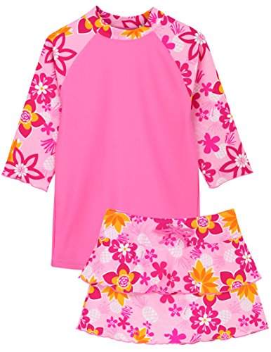 Tuga Girls Three-Piece Bathing Suit 2-14 Years, UPF 50+ Sun Protection Swim Suit