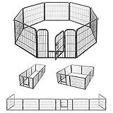 FEANDREA ペットサークル 中大型犬 小動物用 犬猫 大型ペットフェンス カタチ変更可 扉付き 室内外兼用 パネル8枚 折り畳み式 組立簡単 犬ゲージ NPPK86G