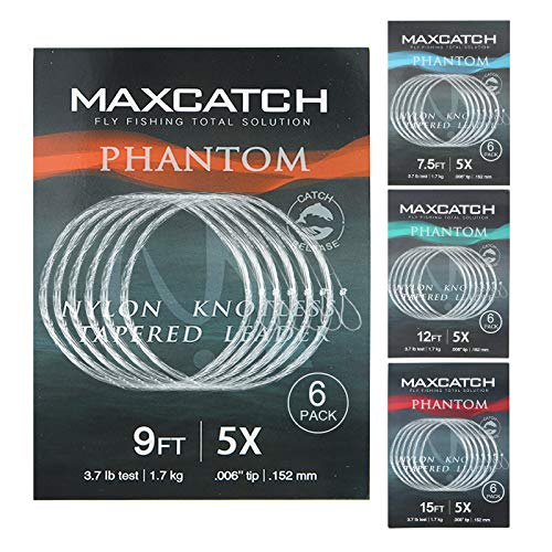 Maxcatch Fly Fishing Tapered Leader Line 6 Pack -Pre-Tied Loop- Tensile Strength- Abrasion Resistance- Low Memory 7.5ft/9ft/12ft/15ft, 0X-6X (7.5ft 3X(2pcs)+4X(2pcs)+5X(2pcs))