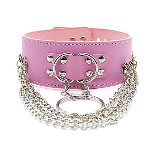 RianGor Collar de cuero PU con cerradura para juego de fiesta(Rosa)