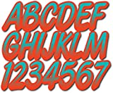 Stiffie Whipline Candy Blue/Lava Red Super Sticky 3' Alpha Numeric Registration Identification Numbers Stickers Decals for Sea-Doo Spark, Inflatable Boats, Ribs, Hypalon/PVC, PWC and Boats.