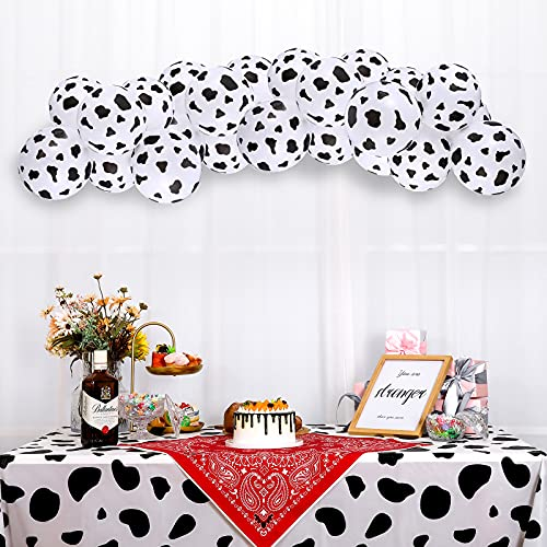 27 Pieces Cow Party Decoration Supplies Includes 1 Cow Print Tablecloth 54 x 107 Inch  1 Square Cowboy Themed Tablecloth  25 Cow Print Balloons 12 Inch for Cowboy Farm Animal Birthday Party Supplies