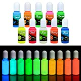 Epoxy UV Resin Color Pigment - Glow In The Dark Liquid Luminous Transparent Epoxy Resin Dye for UV Resin Art Coloring, DIY Jewelry Making - Self Glowing UV Resin Colorant for Paint, Crafts - 10ml Each