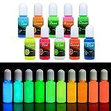 Colorante Resina Epoxi UV Fluorescente - Pigmento Lquido de Resina Epoxi Transparente Luminosa para Resina UV, Fabricacin de Joyas - Tinte Resina Epoxi para Pintura, Manualidades - 10 ml Cada Uno
