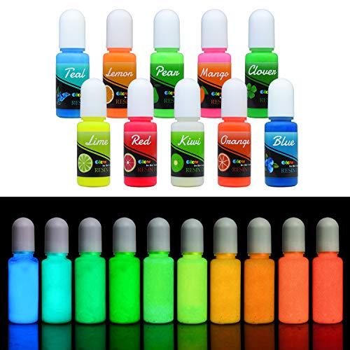 Colorante Resina Epoxi UV Fluorescente - Pigmento Líquido de Resina Epoxi Transparente Luminosa para Resina UV, Fabricación de Joyas - Tinte Resina Epoxi para Pintura, Manualidades - 10 ml Cada Uno