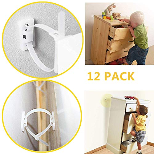 Furniture Straps Baby Proofing Anti-tip Walls (12 Pack) Proofing Anti-tilt Furniture Anchors Kit, Adjustable Child Safety Straps Earthquake Resistant Anti-shedding, Secure Bookshelf, Cabinet, Dresser