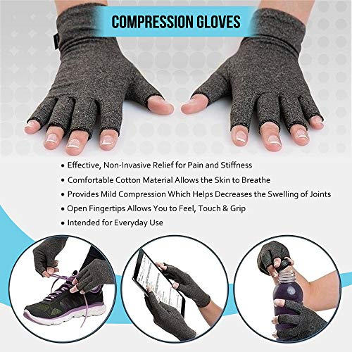 2 Pair Compression Arthritis Gloves Fingerless Hand Wrist Support Joint Pain Relief for Men & Women (1x Copper & 1x Dotted) (Large) & Mesh Bag
