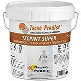 TECPINT SÚPER de Tecno Prodist - 5 Kg (BLANCO) Pintura para Exterior e Interior al Agua - Gran cubrición y blancura - Lavable - Fácil Aplicación