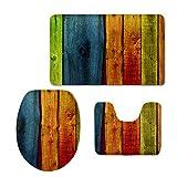 Coloranimal Juego de alfombras de baño de 3 piezas, alfombrilla antideslizante para baño, diseño de madera, alfombra de pedestal, tapa y alfombrilla de baño, verde, naranja, azul y amarillo