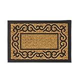 Felpudo Cenefa Antideslizante Negro y marrón en Fibra de Coco de 60x40 cm. - LOLAhome