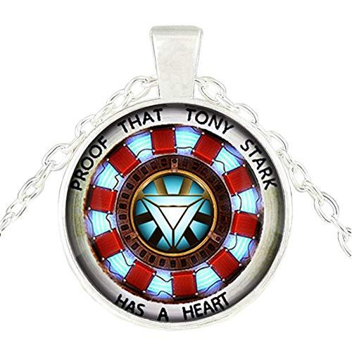 Bosi General Merchandise Colgante de corazón de Iron Man, Cadena de suéter, Collar de Gemas del Tiempo, Accesorios de joyería, coleccionables