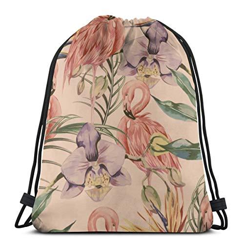 N/B Exotische Botanische Behang, Vintage Boho Stijl Vrouwen Meisje Kunst Trekkoord Rugzak Beam Mond Gym Zak Schoudertassen Voor Mannen & Vrouwen