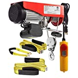 (Bundle Items) Partsam 1320 lbs Lift Electric Hoist Crane Remote Control Overhead Crane Garage Ceiling Pulley Winch Bundled with Towing Strap 5.5Feet x 2inch (w/Emergency Stop Switch)