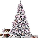 LILIS Árbol de Navidad Artificial Árbol Navideña Pre-encendido del árbol de Navidad Snoin Flocked bisagras árbol de Navidad artificial respetuosa del medio ambiente de PVC Spruce En llevó luces de ado