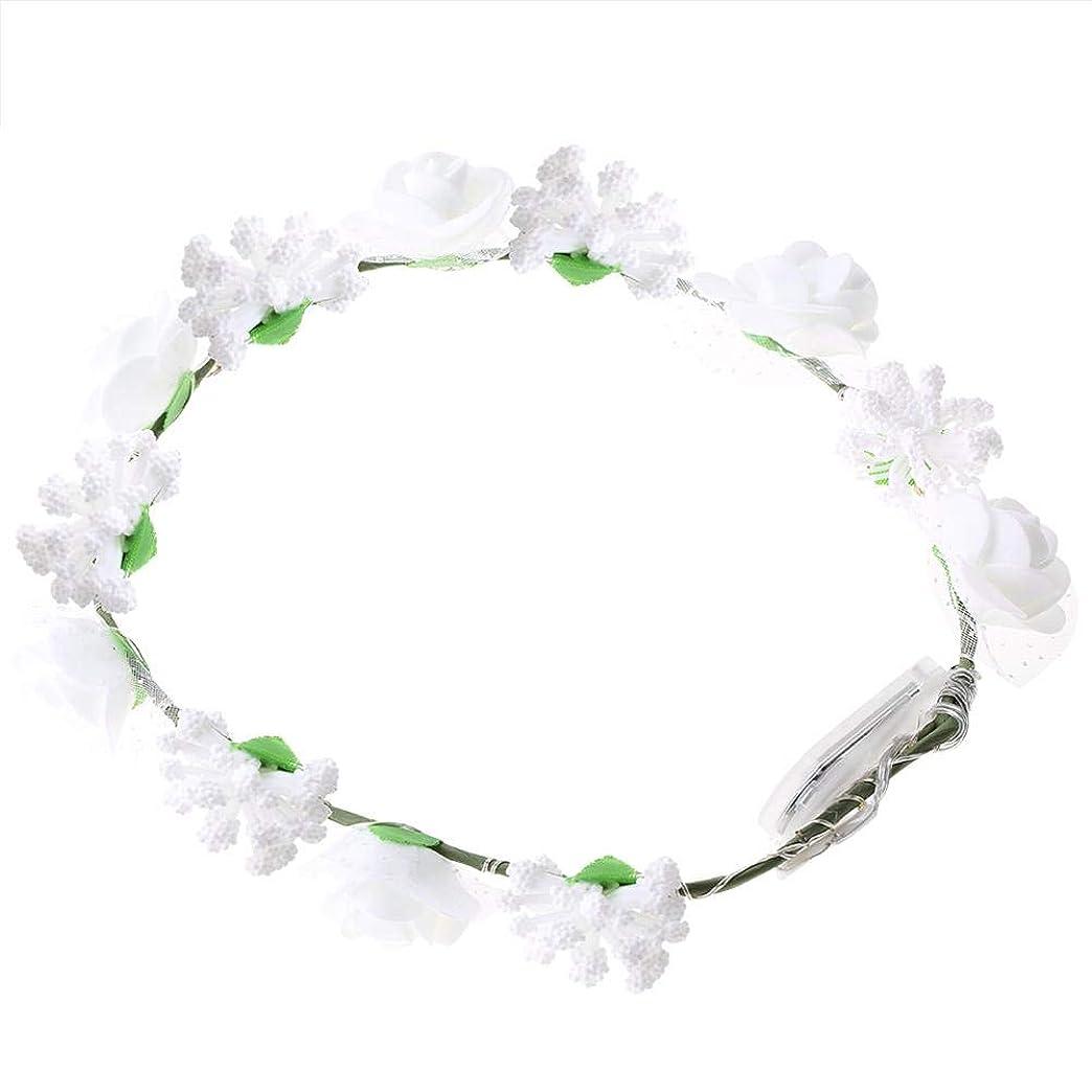 飼料反逆者クロニクルSemme LEDの花の王冠、照明髪の花輪耐久性のあるLEDローズ花ライト妖精照明髪の花輪ライトアップ花の冠(White)