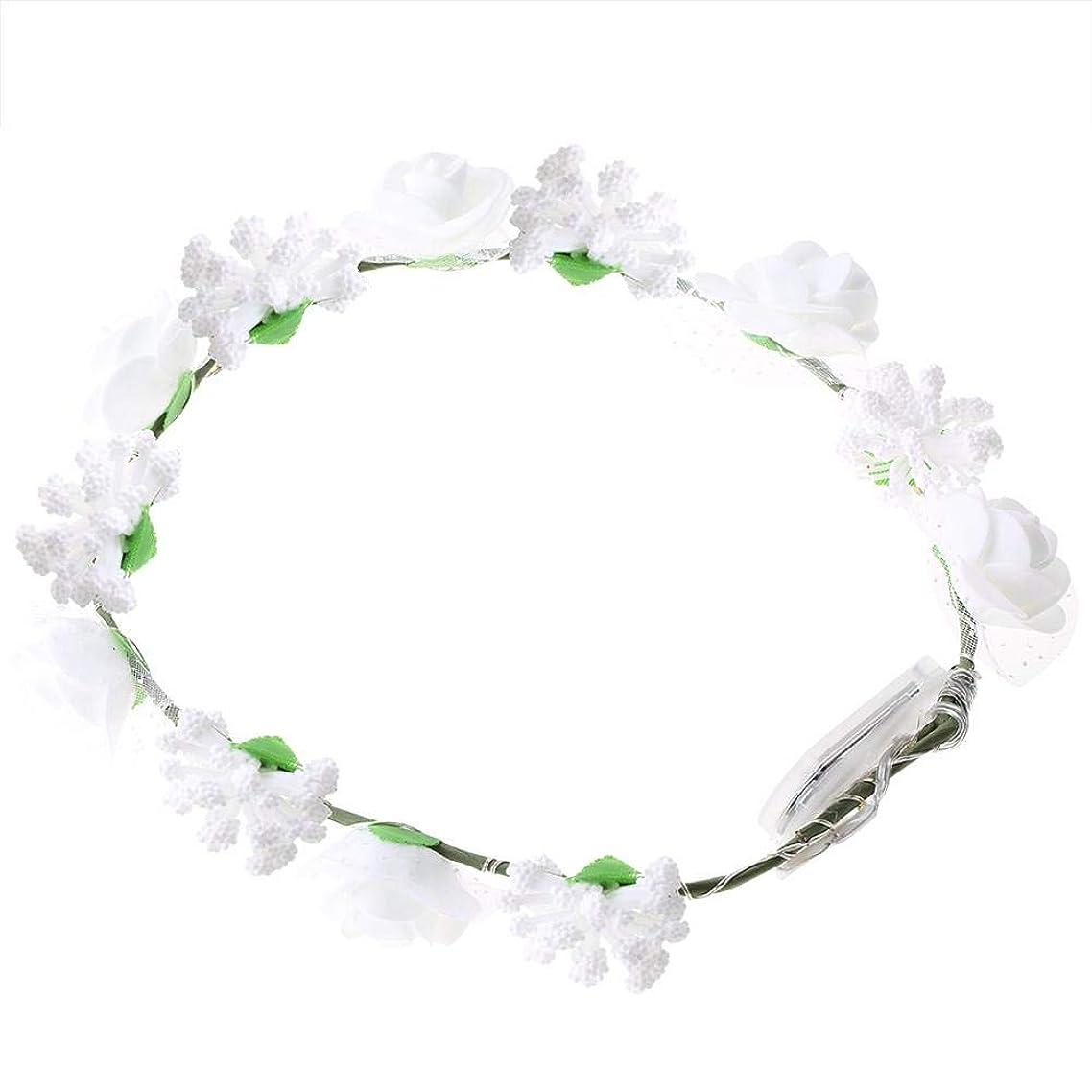 お気に入り所有者定義Semme LEDの花の王冠、照明髪の花輪耐久性のあるLEDローズ花ライト妖精照明髪の花輪ライトアップ花の冠(White)