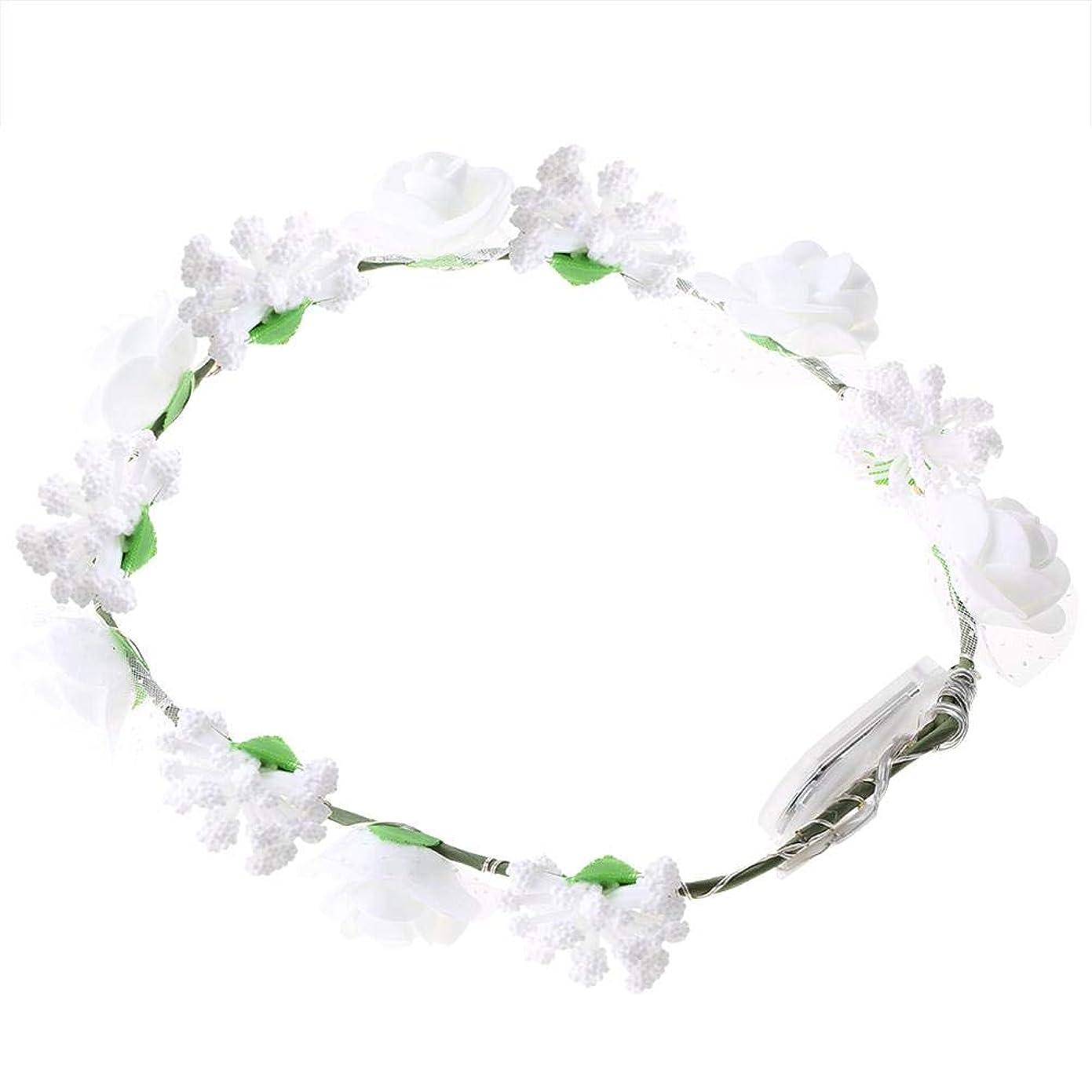式国勢調査状Semme LEDの花の王冠、照明髪の花輪耐久性のあるLEDローズ花ライト妖精照明髪の花輪ライトアップ花の冠(White)