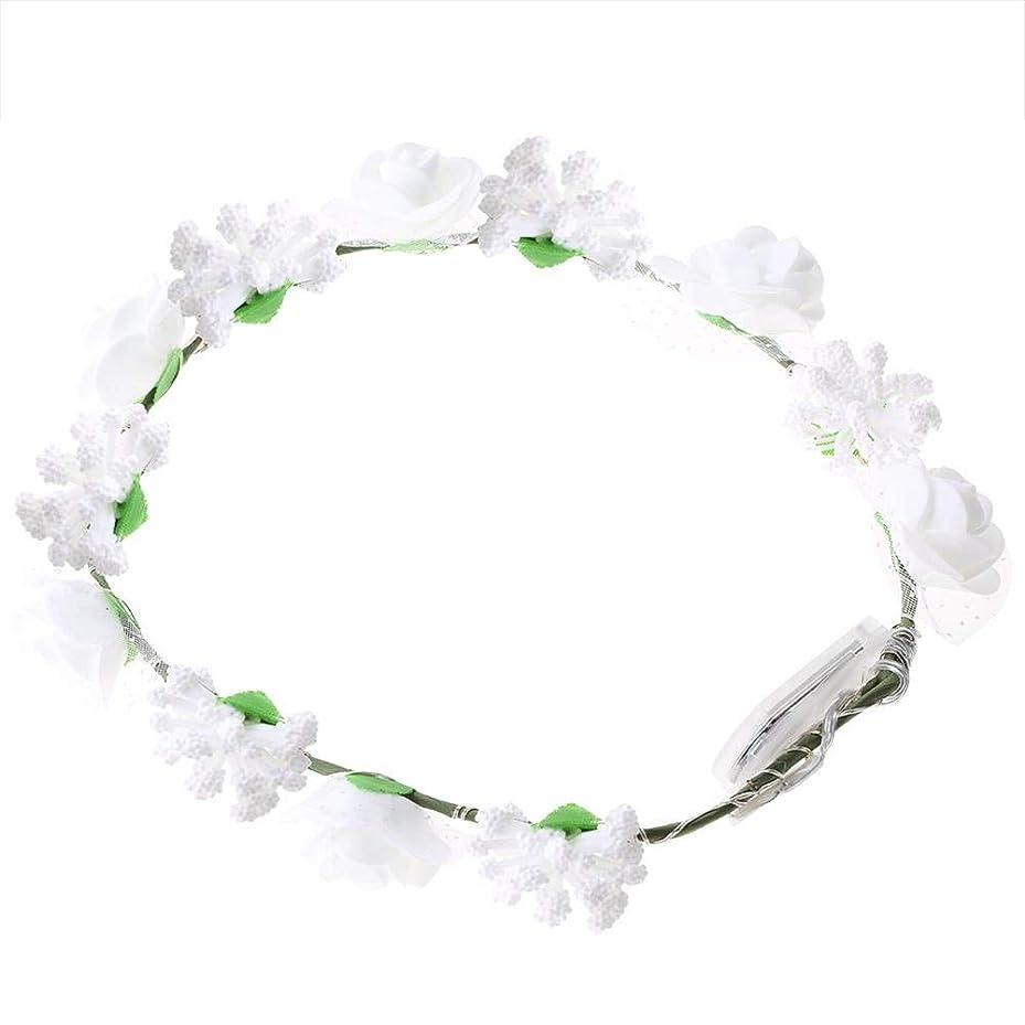 グレートオークラック新聞Semme LEDの花の王冠、照明髪の花輪耐久性のあるLEDローズ花ライト妖精照明髪の花輪ライトアップ花の冠(White)