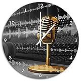 Cooles Musikstudio schwarz/weiß , Wanduhr Durchmesser 48cm mit weißen spitzen Zeigern und Ziffernblatt, Dekoartikel, Designuhr, Aluverbund sehr schön für Wohnzimmer, Kinderzimmer,...