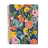 Steel Mill & Co Cute Floral Mini Spiral Notebook, 8.25' x 6.25' Journal with Durable Hardcover and 160 Lined Pages, Garden Blooms (Navy)