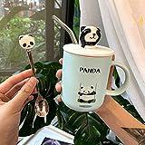 HRDZ Panda Taza Taza de Agua de Dibujos Animados Taza de Leche Desayuno Creativo Taza de café con Tapa Cuchara Cuchara de Paja Taza de cerámica de Estudiante