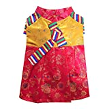 Youthdog Silk Puppy Clothes Korean Hanbok Dress Costume Dogs Clothes for Girl Dog Clothes Small to X Large Size (Red X-Large (US L))