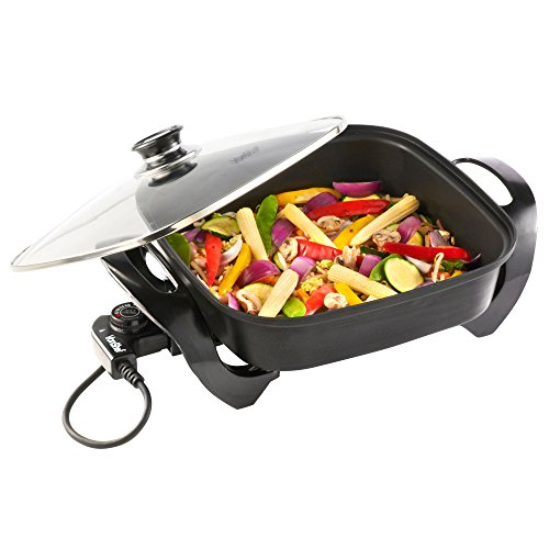 VonShef Square Multi Cooker - Electric Frying Pan with Glass Lid, Non-Stick Surface and Cool Touch Handles - 1500W