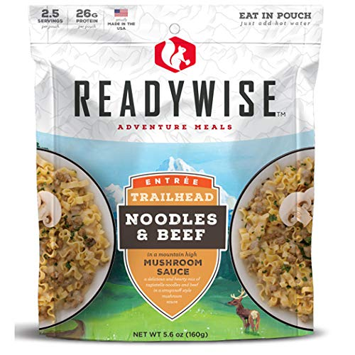 ReadyWise Entree Dish Noodles and Beef with Mushroom Sauce (Single Pouch) | Freeze-Dried Backpacking & Camping Food | 2 Servings | Hunting Field Processing Kits