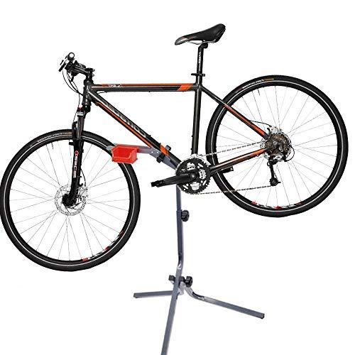 BAKAJI Cavalletto Treppiedi Riparazione Bici Altezza Regolabile 95/105cm Stand Supporto Manutenzione Bicicletta Mountain Bike in Acciaio Inox con Vaschetta Porta Minuteria Attrezzi da Lavoro