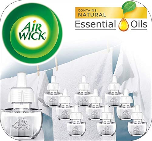 Air Wick plug in Scented Oil 10 Refills, Fresh Linen, Same familiar smell of fresh laundry, Eco friendly, Essential Oils, Air Freshener